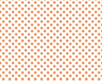 Dots Orange on White Small by RBD Designers for Riley Blake, 1/2 yard