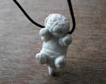 Pug puppy necklace porcelain