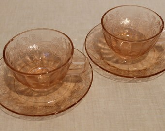 Set of 2 Tea Cups & Saucers - Pink depression glass Floral Poinsettia by Jeannette Glass Co