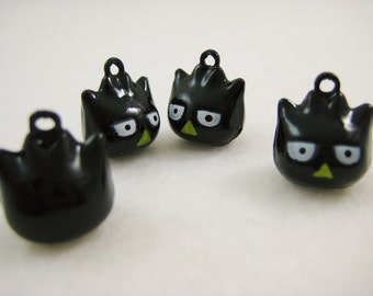 4 Pieces Black Hoot Owls Animal Jingle Bell Charm
