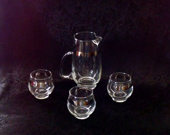 Libbey Cocktail/Cordial Silver Band Pitcher and Roly Poly Glass Set