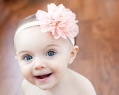Peach baby headband,  infant headband, newborn headband, peach flower headband, photo prop, peach flower, peach headband, baby hair band