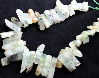 Full Strand Prehnite Long Stick Beads
