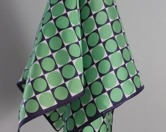 SCARF - CIRCLES in squares - spring GREEN - navy blue - white - totally mod