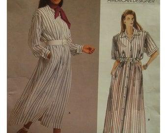 80s Ralph Lauren Shirt Dress Pattern, Button Front, Notched Collar, Blouson Bodice, Long Sleeves, Vogue American Designer No.1873 Size 12
