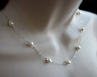 Pearls Sterling Silver Necklace Cable Chain Adjustable Women's Jewelry Bridal Wedding Gift White or Cream