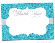 PRINTABLE Sparkly Snowflake Thank You Cards #587
