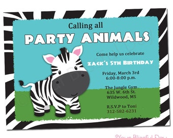 PRINTABLE Zebra Party Invitations (Boy or Girl) #599