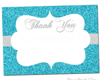 PRINTABLE Sparkly Snowflake Thank You Cards #587