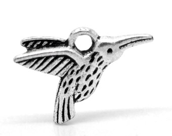 3 Antique Silver Little Humming Bird Pendant Charm 18mm