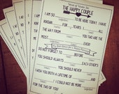 Set of 25 Printed Wedding Mad Lib Cards - Customizable Font Color - Wedding Shower Game - Wedding Reception