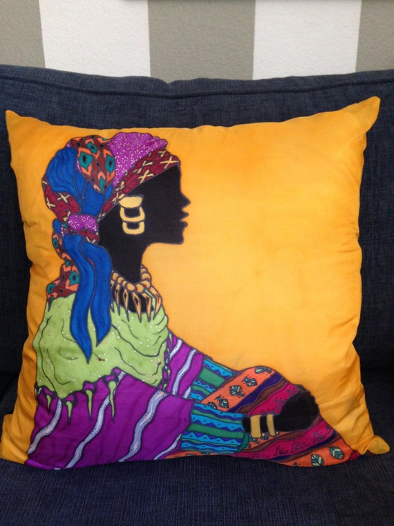 LADY IN WAIT #2 - Hand Painted Silk Decorative Pillow - - Made to Order