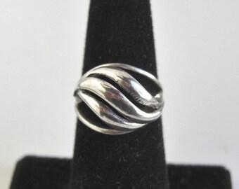 BEAU Sterling Silver Ring - Vintage Modernist, Adjustable Size