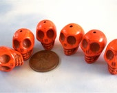 Bright Orange Stone Skull Beads