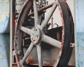 Heavy machinery giant rusty pulley blank greeting card
