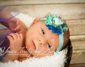 Blue Peacock Shabby Chic Rose Headband - Infant Headband - Newborn Headband - Children's Headband