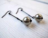 Mercury Marbles Drop Earrings, Czech Glass, Black Brass, Dangle Earrings