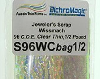1/2 Lb Dichroic Scrap on Wissmach Thin Clear COE 96 Austin Dc097