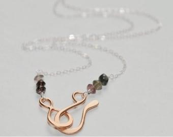 Front Clasp Vermeil and Tourmaline Necklace