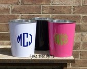 RESERVED (2) Personalized Metal Trash Can - BLACK - Monogram Trash Can
