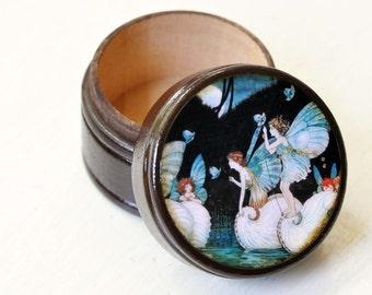 wooden powder box vintage fairies