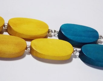 Yellow and Teal Summer Dangle Long Wood Earrings with Silver Lever Back Hooks