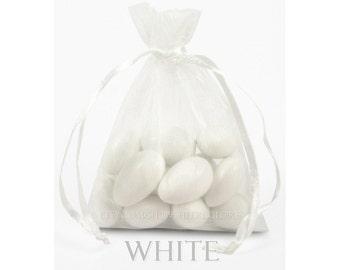 30 White Organza Bags, 6 x 9 Inch Sheer Fabric White Favor Bags