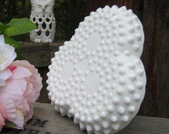 Fenton Hobnail White Milk Glass Divided Tray - Relish Tray - Wedding Decor - Oak Hill Vintage