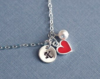 Initial Necklace,Heart Initial Necklace, Child,Flower Girl Initial Necklace,Sterling Silver Red Enamel Heart Initial Necklace,Valentine Gift
