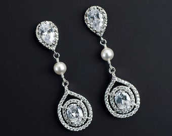 Bridal Earrings Cubic Zirconia Ear Posts, White/Ivory Pearl Connectors and Large Cubic Zirconia Crystal Tear Drops,Wedding CZ Pearl Earrings