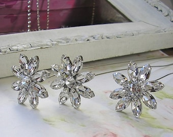 bridal Jewelry Bouquet Stems,Brooch Silver Rhinestone Stems,Wedding Bouquet Accessories,diy bouquet, set of 3