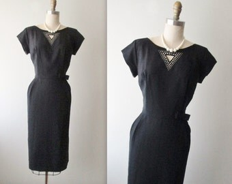 50's Wiggle Dress // Vintage 1950's Peekaboo Rhinestone Black Fitted Cocktail Party Wiggle Dress M