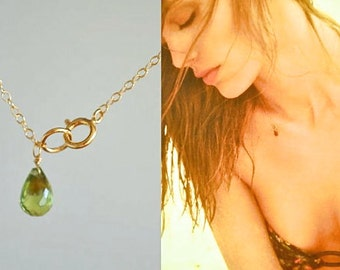 Gold Peridot Simple Summer Necklace