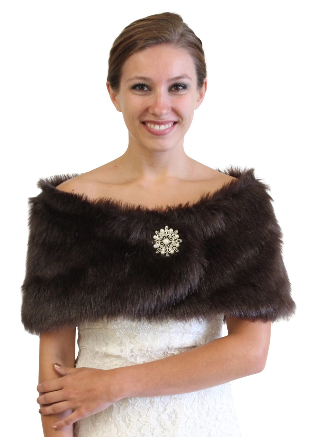Bridal wrap bridal stole vintage brown faux fox fur by tiondesign - Stoel fur ...