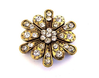 1 large floral 2 hole slider bead, clear crystals and antiqued brass two hole bead, dramatic