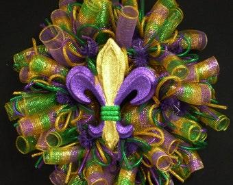 Mardi Gras, Fleur de Lis Wreath, Mardi Gras Decorations, Mardi Gras Decor, Poly Mesh, Fat Tuesday, Geo Mesh, Deco Mesh (930)