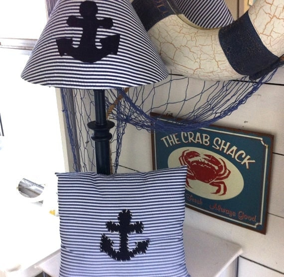 anchor pillow nautical lamp nautical pillow nautical nursery. Black Bedroom Furniture Sets. Home Design Ideas