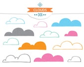 Cloud Clip Art - INSTANT DOWNLOAD - Hand Drawn - Clouds, cartoon, bubbly, happy