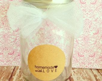 set of 20 homemade with love kraft stickers, kraft baking stickers, kraft mason jar stickers