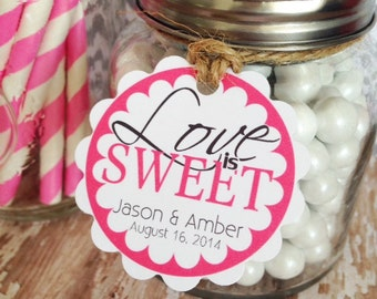 love is sweet wedding tags, custom wedding labels, bridal shower hang tags, pink wedding candy tags, set of 20 2 inch scallop tags