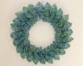 MOVING SALE-Sea Glass Blend French Beaded Decorative Mini-Wreath