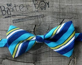 Turquoise & Blue diagonal stripe little boy bow tie, pre-tied - photo prop, wedding, ring bearer, accessory, birthday boy