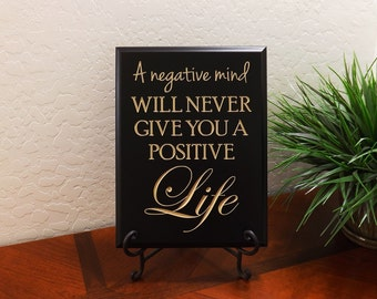 "Decorative Carved Wood Sign with Quote ""A negative mind will never give you a positive Life"" 9""x12"" Free Shipping"