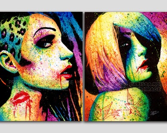 Set Of TWO Separate Pop Art Splatter Portrait Prints - Intoxicated And Regrets Set - 5x7, 8x10, or apprx. 11x14 in Prints