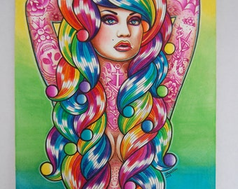 ORIGINAL 11x14 in. Watercolor Painting - Rainbow Haired Tattooed Pin Up Girl - Star Burst