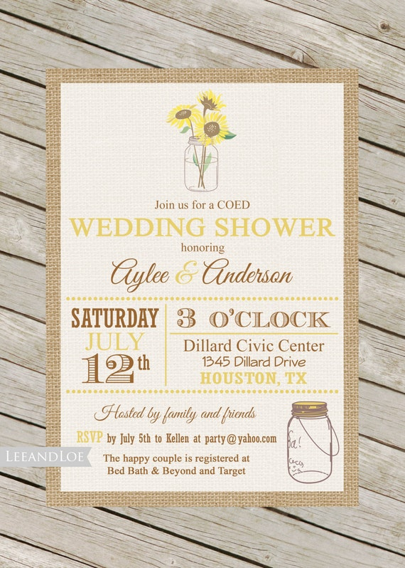 couples or coed wedding shower invitation rustic sunflower