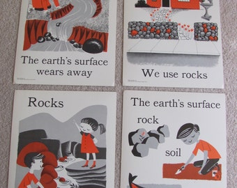 "Vintage Illustrated Large Flash Card Science Chart Poster -- 11"" x 14"" Your Choice rocks earth"