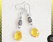 Hooks, Light Topaz Crystal Teardrops, Fancy TierraCast Pewter Tube Beads Silver Earrings, Choose Surgical Steel or Sterling Silver Ear Wires