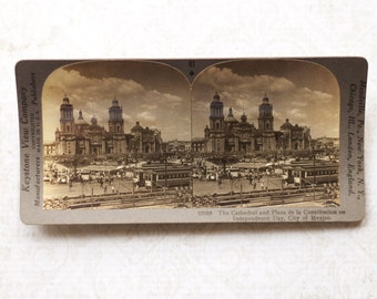 vintage stereocard photograph : keystone stereo card cathedral and plaza de la constitution city of mexico paper ephemera mixed media