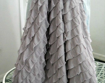 Belle Époque ruffled jean skirt lilac lavender bohemian mermaid beach wedding  Renaissance Denim Couture